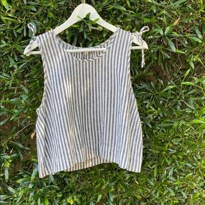 Pinstripe cropped flowy tank top - Madewell